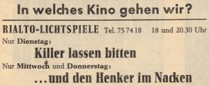 Rialto-Kino-Zeitungsanzeige